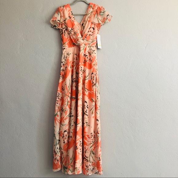 ce1702682d4 Chetta B Floral Peach Maxi Dress NWT